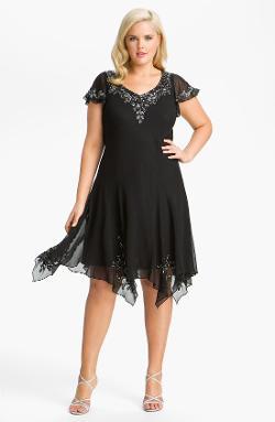 J Kara  - Beaded Flutter Sleeve Chiffon Dress