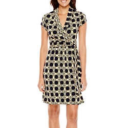 Liz Claiborne - Print Belted Wrap Dress