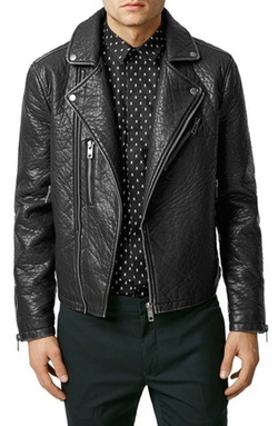 Topman  - Faux Leather Biker Jacket