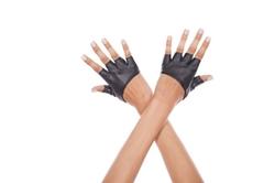 Music Legs - Short Faux Leather Fingerless Gloves