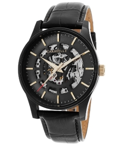Caravelle by Bulova - Automatic Black Genuine Leather Watch