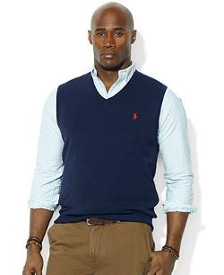 Polo Ralph Lauren  - Big and Tall V-Neck Merino Wool Sweater Vest