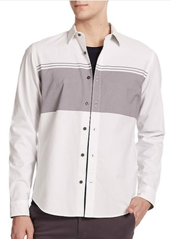 Vince  - Engineered Oxford Stripe Cotton Sportshirt
