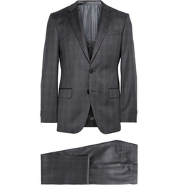 Hugo Boss - Charcoal Slim-Fit Checked Wool Suit