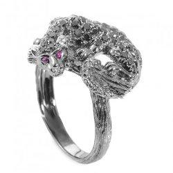 True Facet - Blackened White Gold, Black Diamond Panther Ring