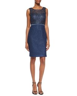 Kay Unger New York - Sleeveless Metallic Lace Sheath Dress