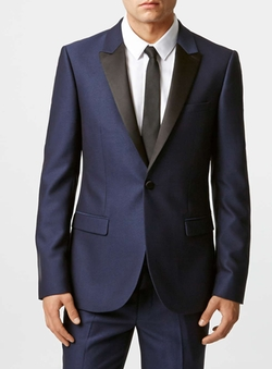 Topman - Crepe Skinny Fit Tuxedo Jacket With Contrast Lapel