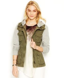 Rachel Roy - Knit-Sleeve Cargo Jacket