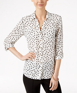 Charter Club - Dot-Print Button-Front Shirt