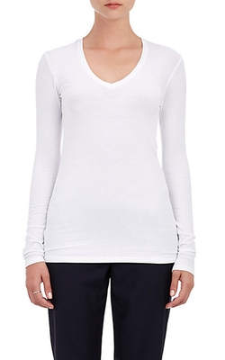 ATM Anthony Thomas Melillo - Ribbed V-Neck Long-Sleeve Shirt