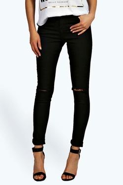 Boohoo Blue  - Lara High Rise Ripped Knee Super Skinny Jeans