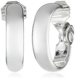 Anne Klein  - Classics Silver-Tone Medium Hoop Clip-On Earrings