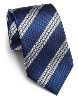 Saks Fifth Avenue Collection  - Textured Stripe Silk Tie