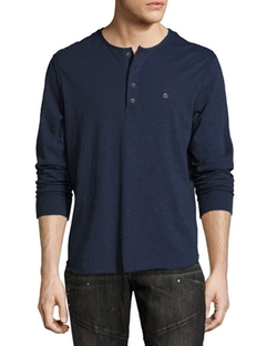 True Religion - Raw-Edge Slub Henley Shirt