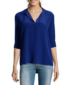 Wyatt  - Sapphire Silk Long Sleeve Collar Blouse