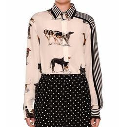 Stella McCartney - Stripe-Trim Dog-Print Silk Blouse