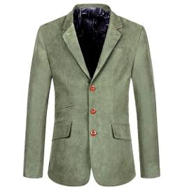 Qiyun - Classic Three-Button Suede Leather Lapel Blazer