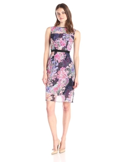 Adrianna Papell - Sleeveless Printed Illusion Sheath Dress