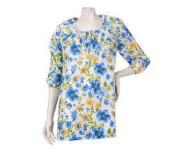 Denim & Co.  - Square Neck Floral Printed Peasant Tunic
