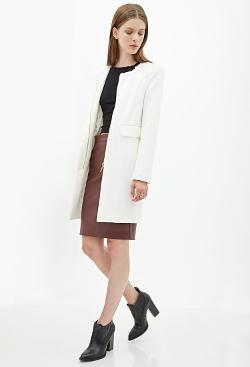 Forever21 - Collarless Textured Knit Coat