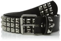 Beltiscool - Snap On Three Row Studded Leather Belt