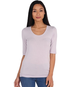 Majestic  - Elbow Sleeve Scoop Neck Top