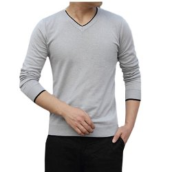 Hp-Leisure - V-Neck Hedging Slim Sweater