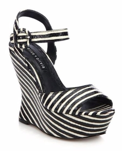 Alice and Olivia  - Jana Snakeskin-Embossed Leather Stripe Wedge Sandals