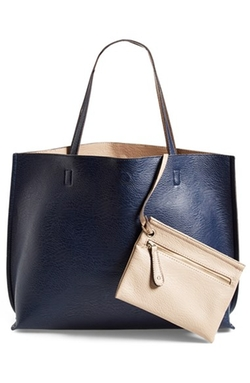 Street Level - Reversible Faux Leather Tote & Wristlet