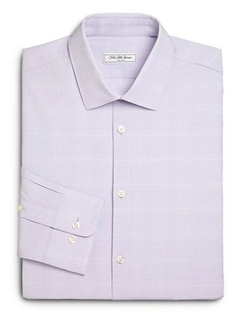 Saks Fifth Avenue Collection  - Modern-Fit Checked Dress Shirt