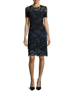 Elie Tahari  - Ophelia Short-Sleeve Lace Sheath Dress
