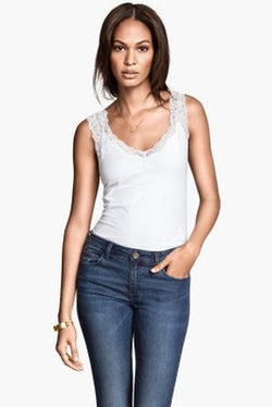 H&M - Lace-trimmed Tank Top