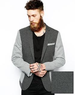 ASOS  - Slim Fit Blazer In Contrast Jersey