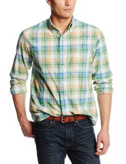 IZOD  - Long Sleeve Textured Gradient Plaid Button-Down Shirt