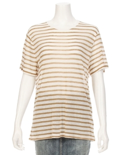 T by Alexander Wang - Stripe Linen Short Sleeve Tee