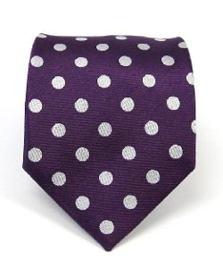 The Tie Bar - Silk Woven Plum Polka Dot Tie