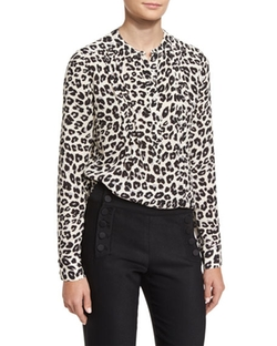 Veronica Beard  - Harmony Silk Animal-Print Pintucked Blouse