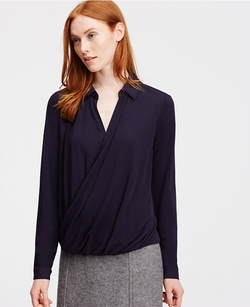 Ann Taylor - Petite Collared Wrap Front Blouse