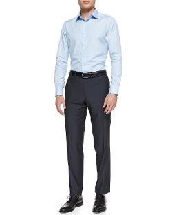 Brioni  - Piped-Collar Cotton Dress Shirt