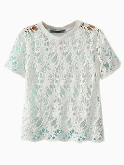 CHOIES - White Lace Hollow 0ut Blouse