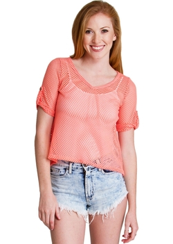 Clothes Effect - Coral Fishnet Mesh Top