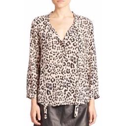 Joie - Purine B Leopard Printed Tie Blouse