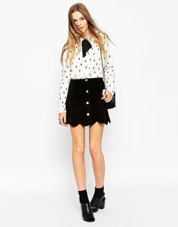 ASOS - Blouse In Mono Ditsy Floral Print