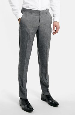 Topman  - Grey Glen Plaid Slim Fit Suit Trousers