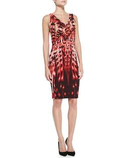 Fuzzi   - Sleeveless Ikat-Print Faux-Wrap Sheath Dress