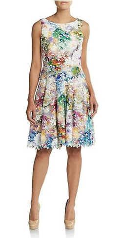 Vera Wang  - Floral Print Cutout Fit-And-Flare Dress