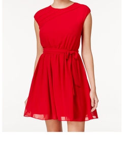 BCX  - Pleated Cap-Sleeve Fit & Flare Dress