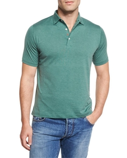 Isaia  - Short-Sleeve Silk-Blend Polo Shirt