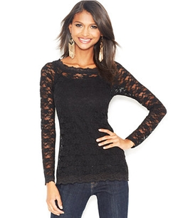 Bar III  - Long-Sleeve Lace Top