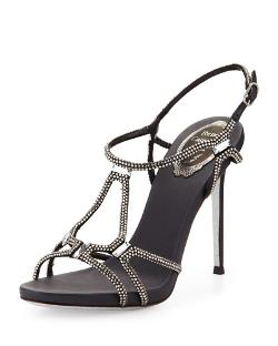 Rene Caovilla	  - High-Heel Slingback Sandal with Crystals
